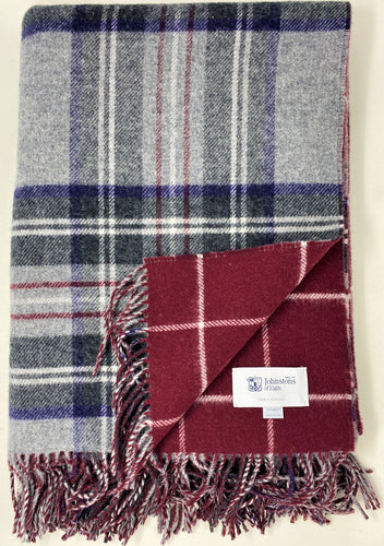 Grey Tartan Check blanket with reversible ruby windowpane print