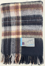 Load image into Gallery viewer, Shetland Wool Throw - Plaid Blanket - Navy Ecru Chestnut