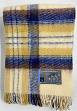 Load image into Gallery viewer, Shetland Wool Throw - Plaid Blanket - Ecru Navy Goldenrod