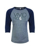 Unisex Vivid Roots Raglan - Heather Grey & Navy/Earth Tone Blue