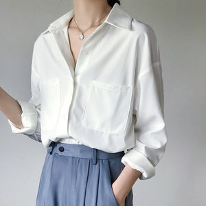 OL Style White Shirts for Women Turn-down Collar Pockets Women Blouse Tops Elegant Workwear Female Tops blusas femme 2020 Autumn