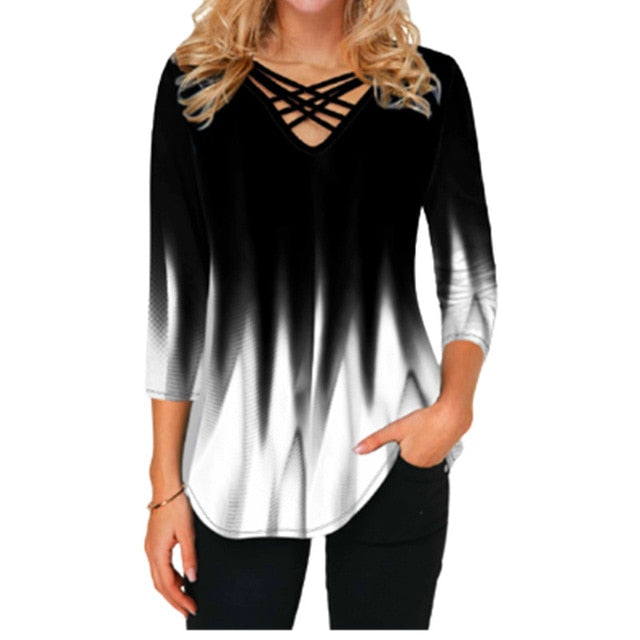 2021 New Spring Tops 4XL 5XL Oversized Women Blouses 3D Gradient Print Cross V-Neck Loose Plus Size Shirt Tops Fashion Clothes