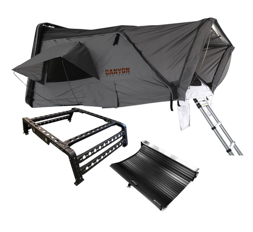 Roof Top Tent Camping Package - 4 Person Hard Shell Tent - Canyon Off-Road