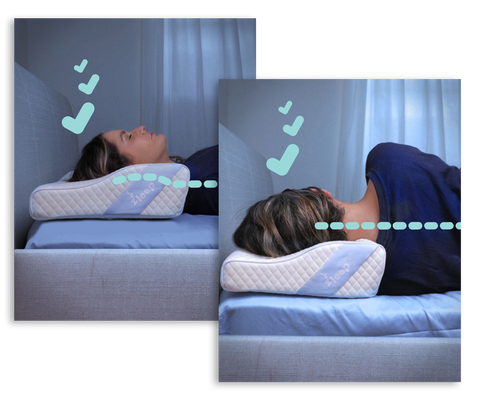 woman sleeping with Zleep, Australia's best cervical orthopaedic pillow for sore neck