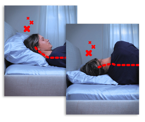 woman with neck pain sleeping without zleep, Australia's best pillow for neck pain