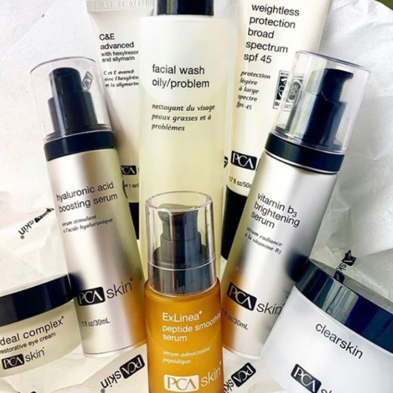 PCA Skin Products available in our Bridgeville Day Spa - Reveal Skin & Beauty Spa. Used in our PCA Skin Chemical Peels, Acne Facials, Anti-Aging Facials and Brightening Facials. Pittsburgh PCA Certified Professional and Retailer and Seller.