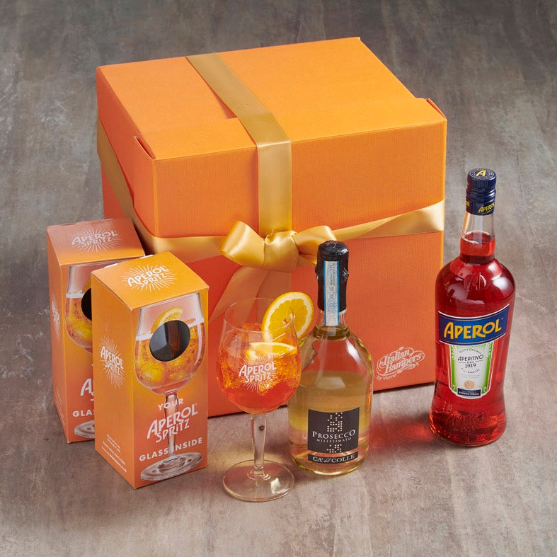 aperol spritz hamper with glasses