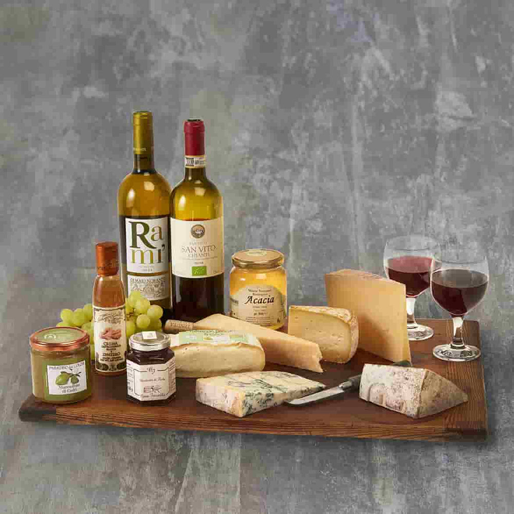 italian cheese and wine hamper with two bottles of wine, 5 cheeses and accompaniments.