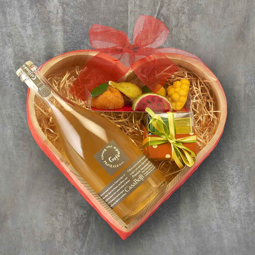 Italian Wooden heart shaped box pamper Hamper with Prosecco and sweet treats