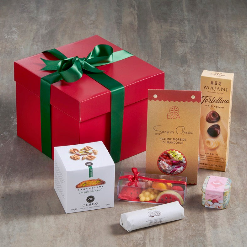Italian sweet treats gift box with cantucci biscuits, marzipan fruits, chocolates and more