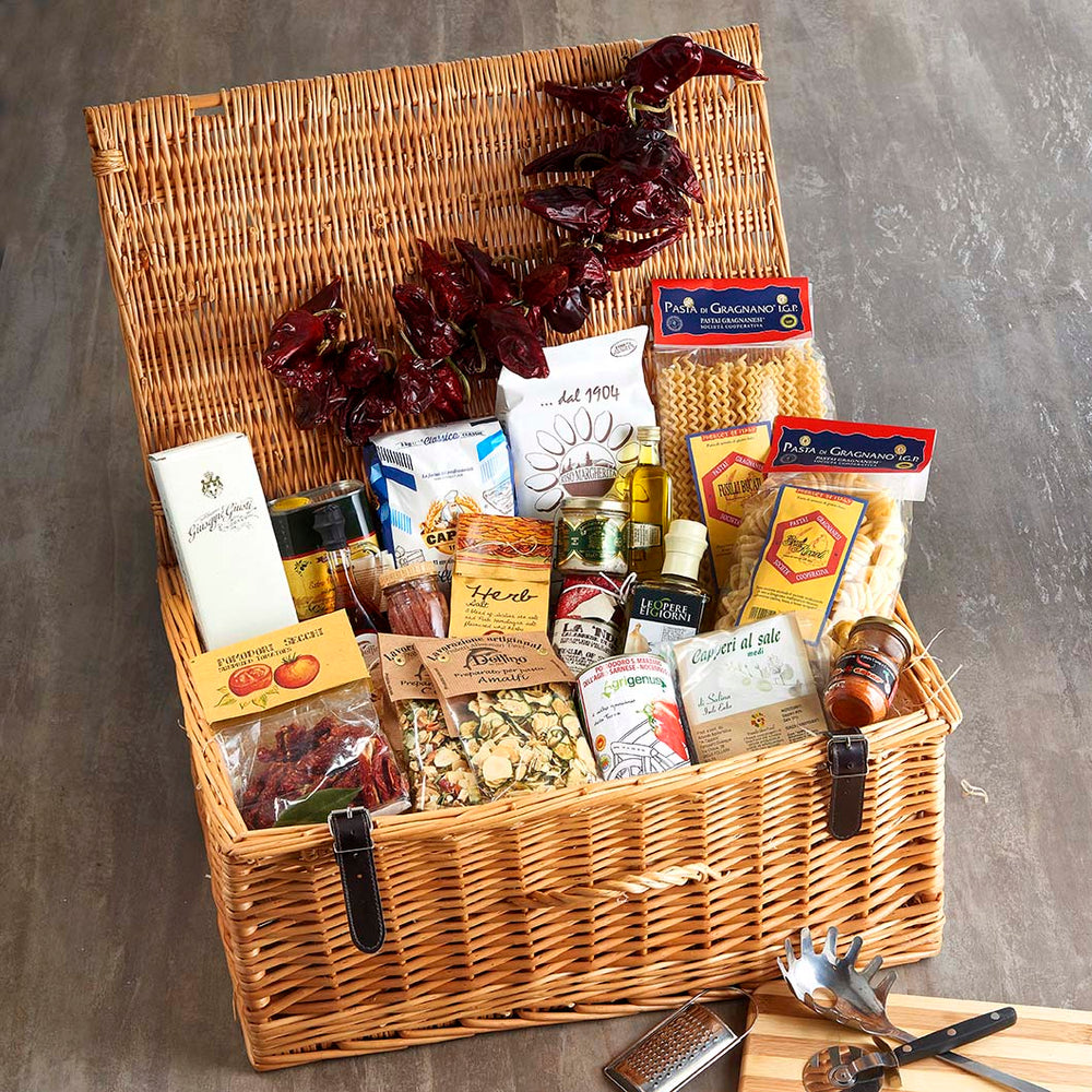 The Italian Chef wicker Hamper packed full of essential Italian ingredients