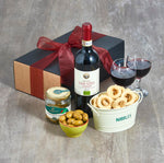 organic red wine and nibbles hamper
