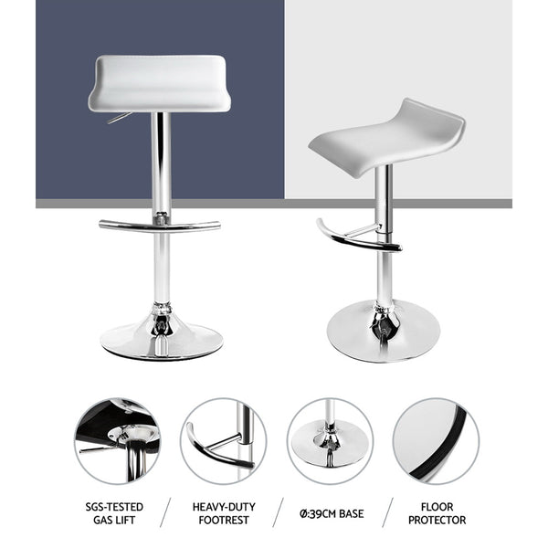 Artiss Set of 4 PU Leather Wave Style Bar Stools - White