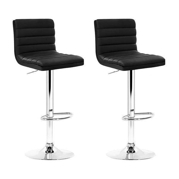 Artiss Set of 2 PU Leather Bar Stools Padded Line Style - Black