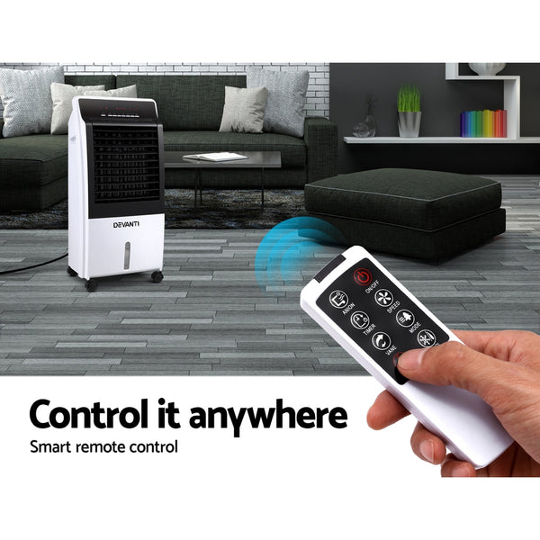 Devanti Evaporative Air Cooler Potable Fan Cooling Remote Control LED Display