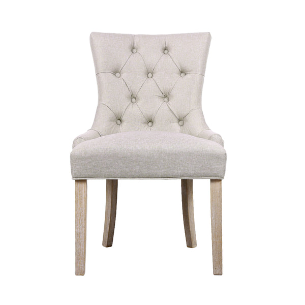 Artiss Set of 2 Dining Chair Beige CAYES French Provincial Chairs Wooden Fabric Retro Cafe