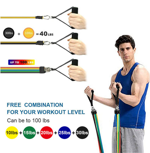 11pcs / Set Gym Bandes de résistance