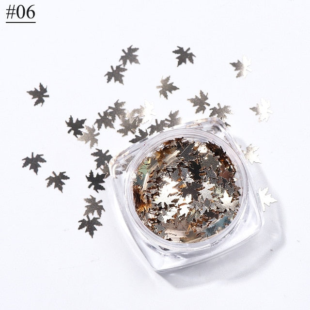 Leaves Nail Art Sequins Holographic Glitter Flakes