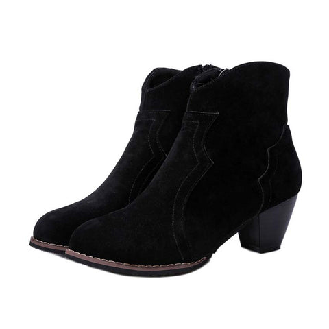Fashion winter boots shoes women short boots high heels boots with thick scrub