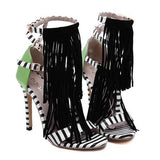Gorgeous Fringe and Striped High Heels GSS1142
