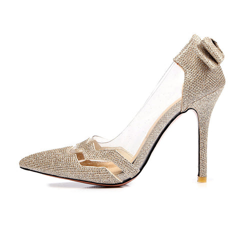 GSS1043 High Heel Bridal Bow Pumps Gold Silver