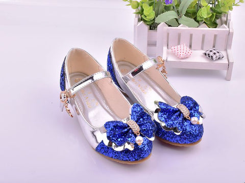Girls bow princess rhinestone shoes