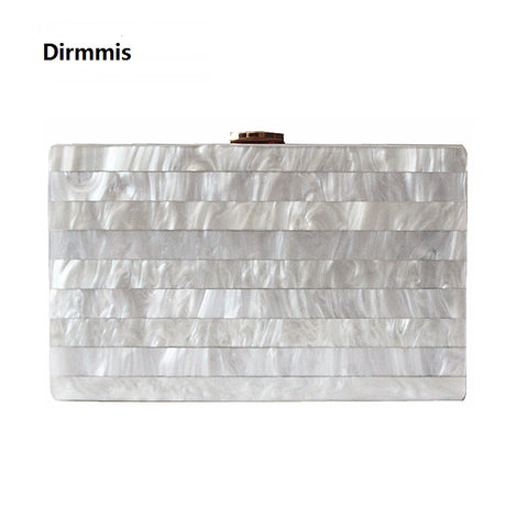 Woman's Evening Marble Effect Shoulder Clutch Bag