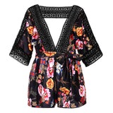 Women Floral Print Plunge V Crochet Lace Cut Out Backless Playsuit