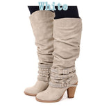 Women Slouch Knee High Strap Buckle Boots GSS1161