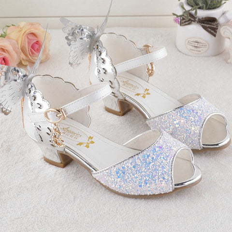 7afae4340 ... Girls Summer Princess Sandal Butterfly Shoes Wedding Party Shoes ...