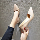 Ladies stiletto square heel pointed shoes