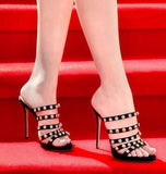 2018 summer women's new high-heeled rivets rhinestone sandals sexy wear sandals and slippers