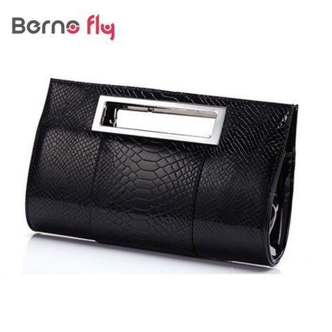 Womens Alligator Effect Clutch Shoulder Evening Bag