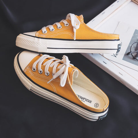 2019 Summer New Style No Heel Canvas Shoes Women's ban tuo xie Korean-style Versatile Flat Small Dirty Orange Slip-on Loafers