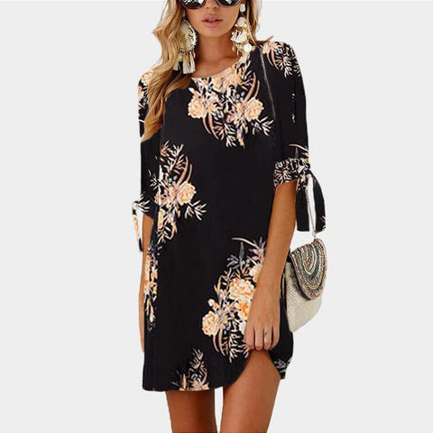 Women Summer Dress Boho Style Floral Print Chiffon Beach Dress Tunic Sundress Loose Mini Party Dress