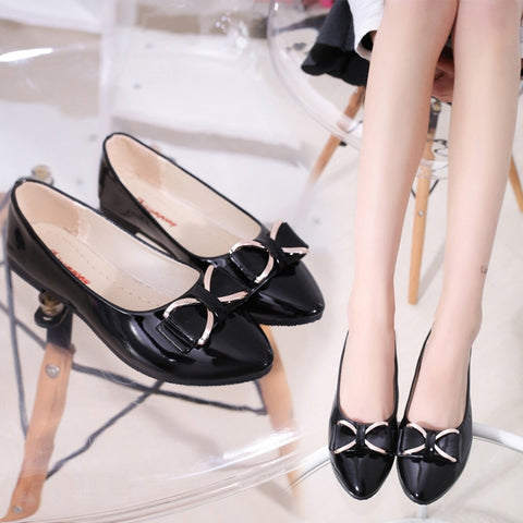 Women's Bowknot Shallow Pointed Toe Casual Work Shoes