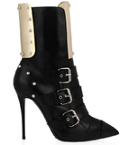 Gold Panel And Buckle Stiletto Boots GSS1035