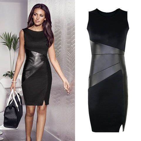 Ladies Faux Leather Black Pencil Neck Sleeveless Elegant Slim Bodycon Dress