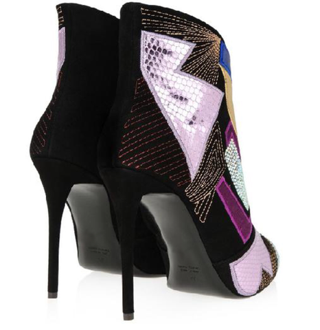 Colour Block Retro Stiletto Boots GSS1038