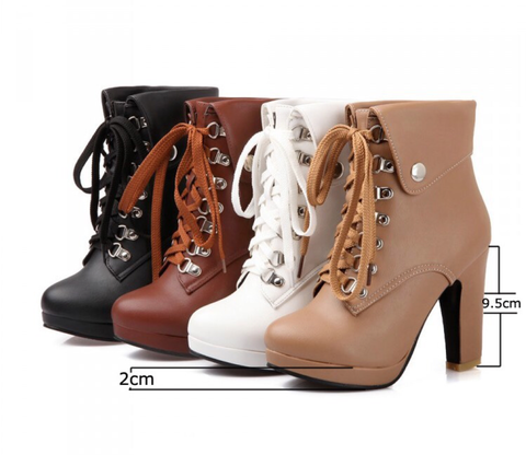 Fold Over Lace Up Ankle Boot GSS1100