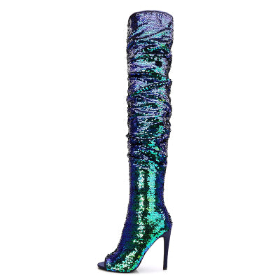 Super Star Bling Glitter Women Long Boots Sexy Model Lady Peep Toe Over-The-Knee Boots