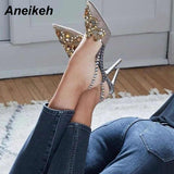 Aneikeh 2019 Spring Sexy Pumps Fashion Rhinestones Diamond Beaded Super High Thin Heeled Pointed Toe Slingbacks Women Shoes