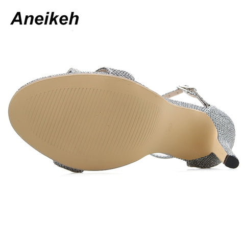 509e1881244 ... Aneikeh 2019 Summer Rhinestone Sandals Silvery Butterfly-knot Women  Fashion High Heels Ankle Buckles Ladies ...