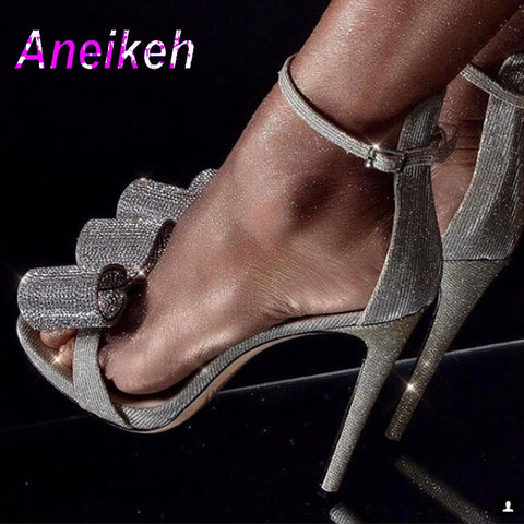 d2d68d7c14b Aneikeh 2019 Summer Rhinestone Sandals Silvery Butterfly-knot Women Fashion  High Heels Ankle Buckles Ladies ...