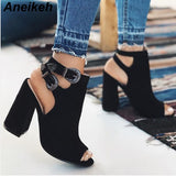 Women Gladiator High Heel Buckle Strap Sandal Boots