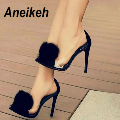 Aneikeh Clear PVC Transparent Pumps Slip-On Thin Heel High Heels Point Toes Womens Party Shoes Nightclub Pumps Black Size 35-40