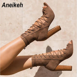 Gladiator Style Open Toe Suede Lace Up Chunky Heel Sandal Boots