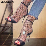 Aneikeh NEW Summer Glitter Gladiator Air mesh Sexy Sandals Shoes Woman High Heel Peep Toe Stripper Zipper Party Thin Heels Pumps