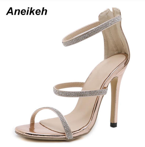 Sexy Gold High Heels Open Toe Ankle Strap Rhinestone Sandals
