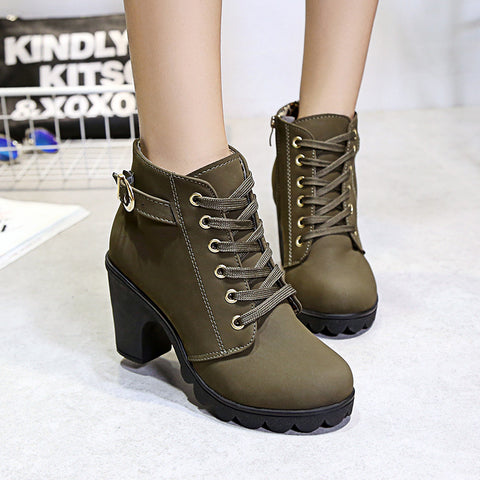 Lace up short block heel ankle boots